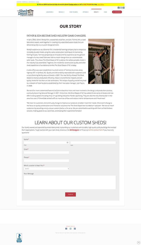 Shed Depot Screenshot | WP Digital