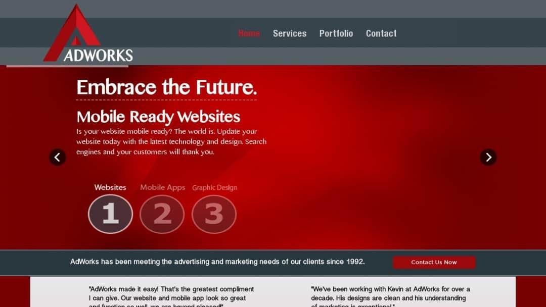 Screenshot of Adworks Concepts & Design's Website