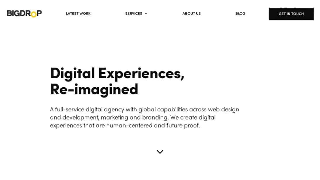 Screenshot of Big Drop's Website
