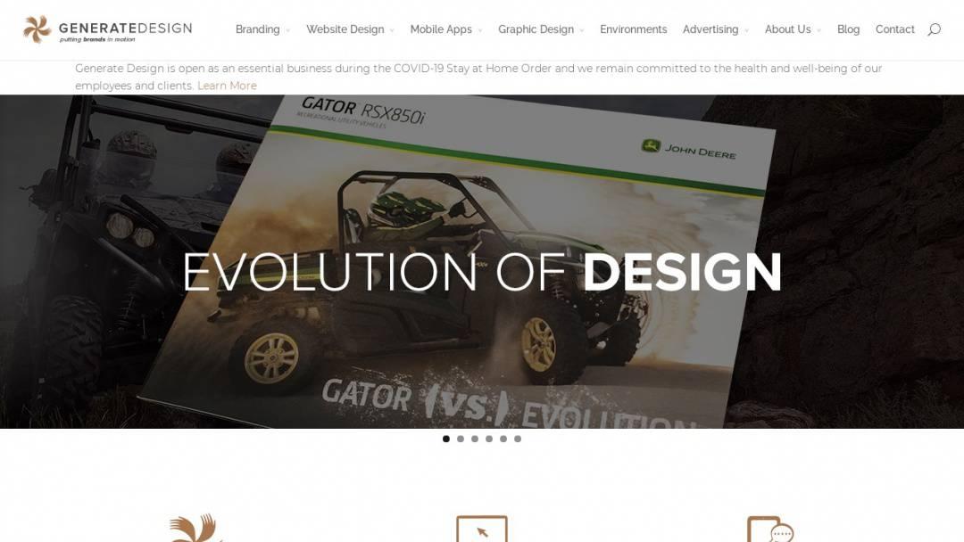 Screenshot of Generate Design's Website