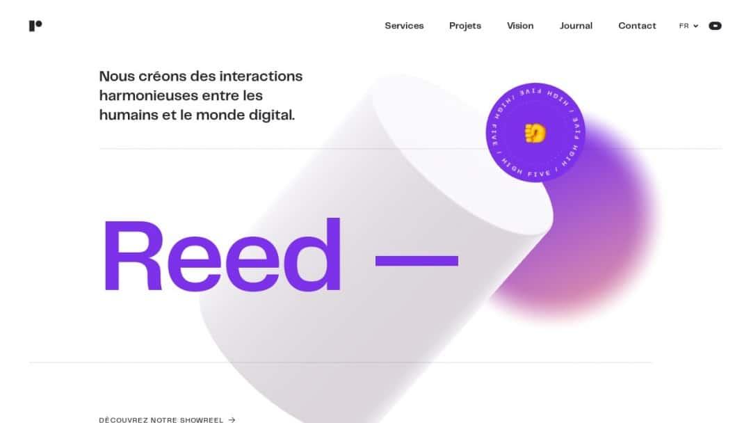 Screenshot of Reed's Website
