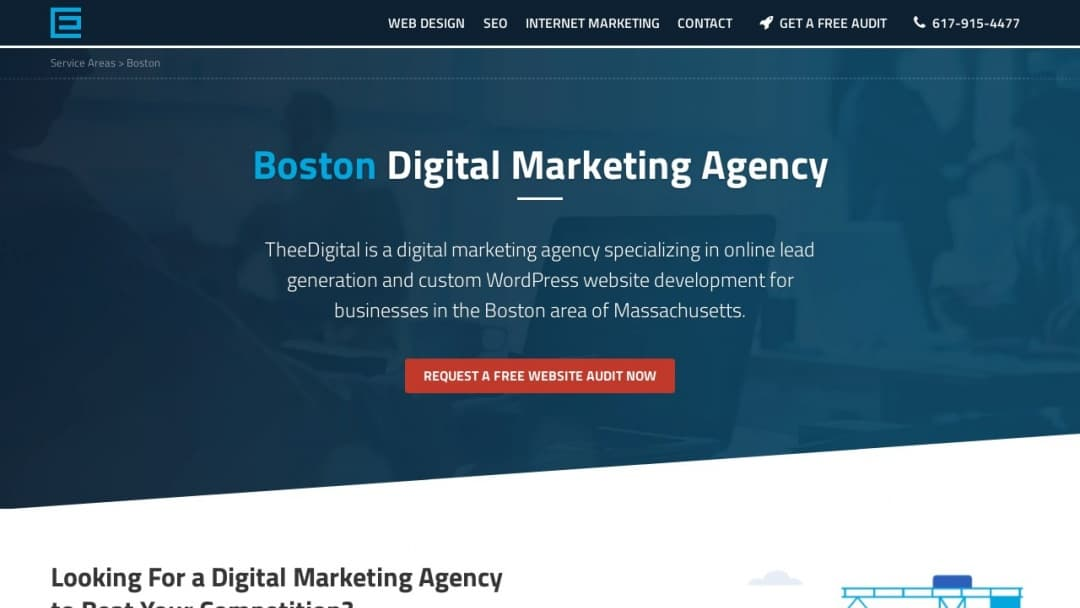 Screenshot of TheeDigital Boston's Website