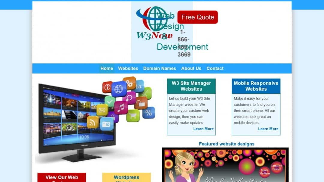 Screenshot of W3Now Web Design's Website