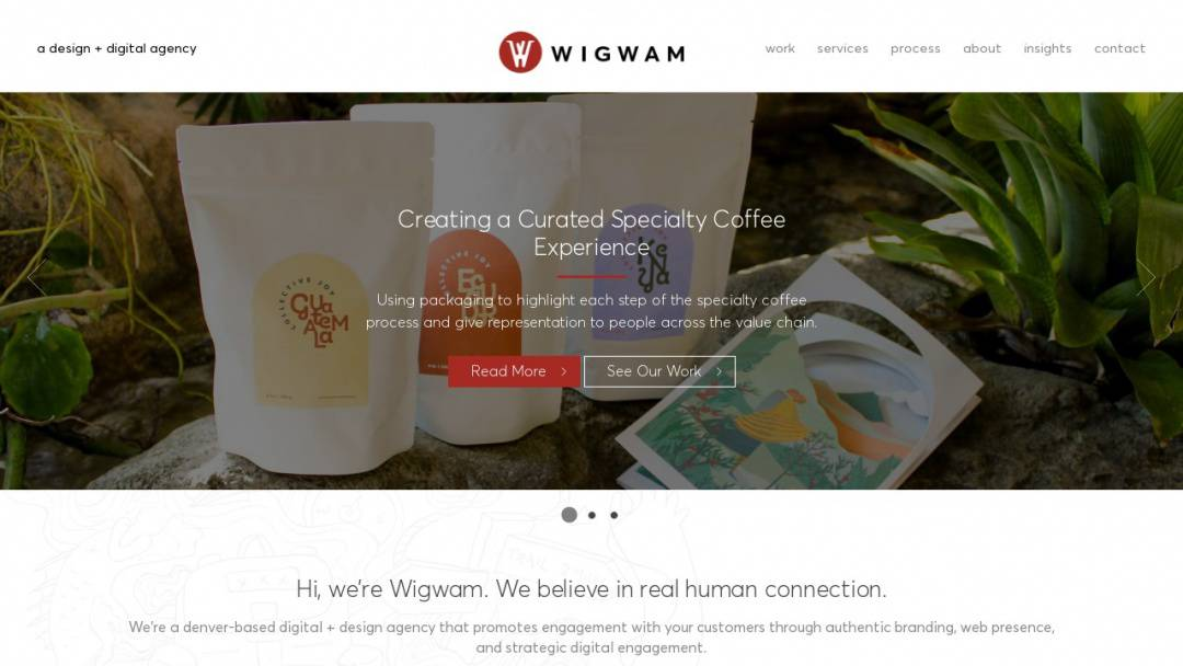 Screenshot of Wigwam Creative's Website