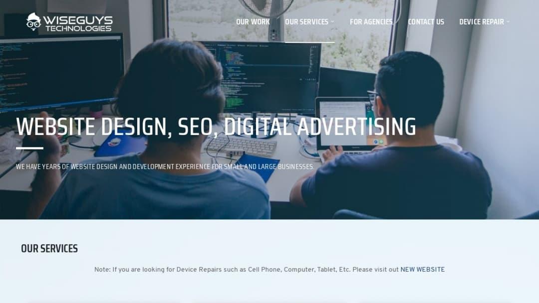 Screenshot of Wise Guys Technologies LLC's Website