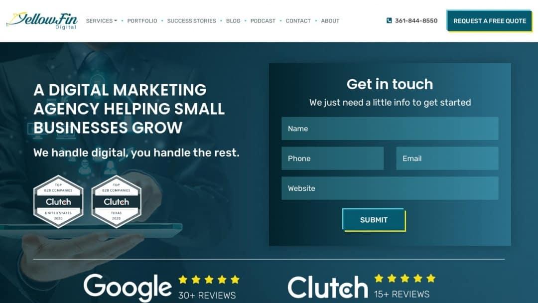 Screenshot of YellowFin Digital's Website