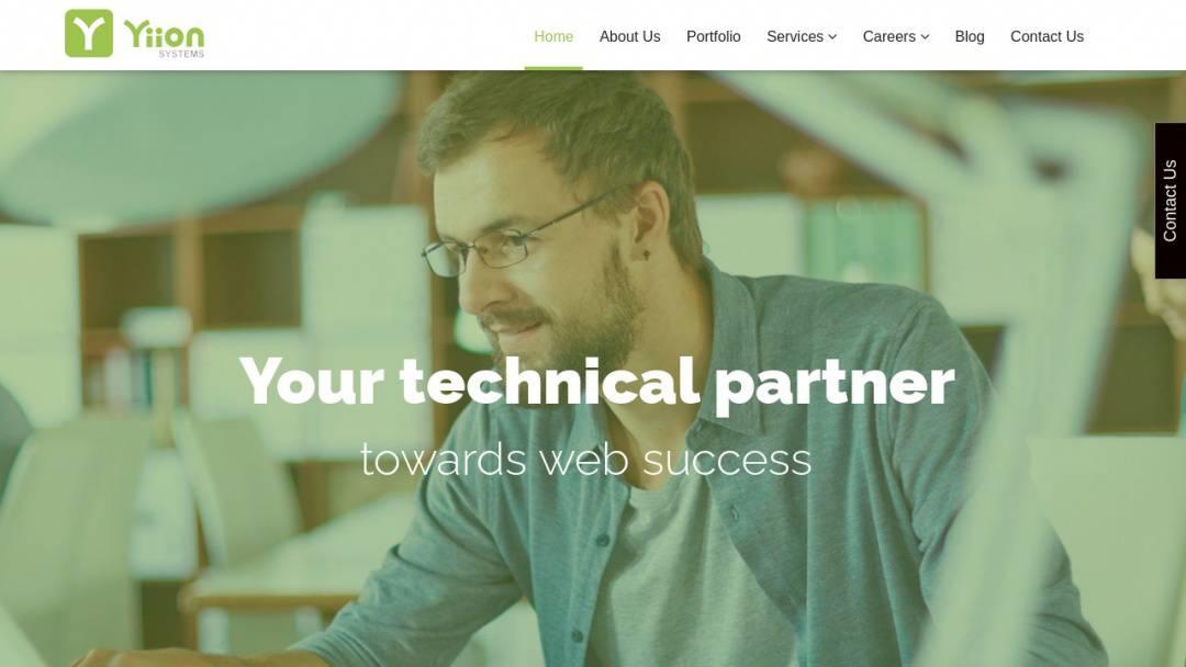 Screenshot of Yiion Systems's Website
