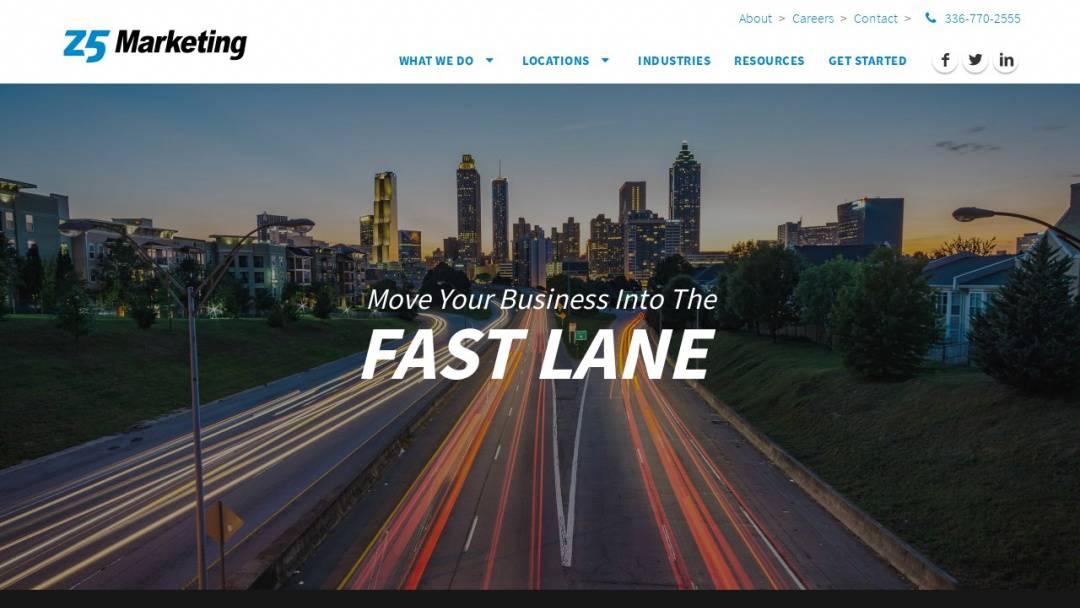 Screenshot of z5 Marketing LLC's Website