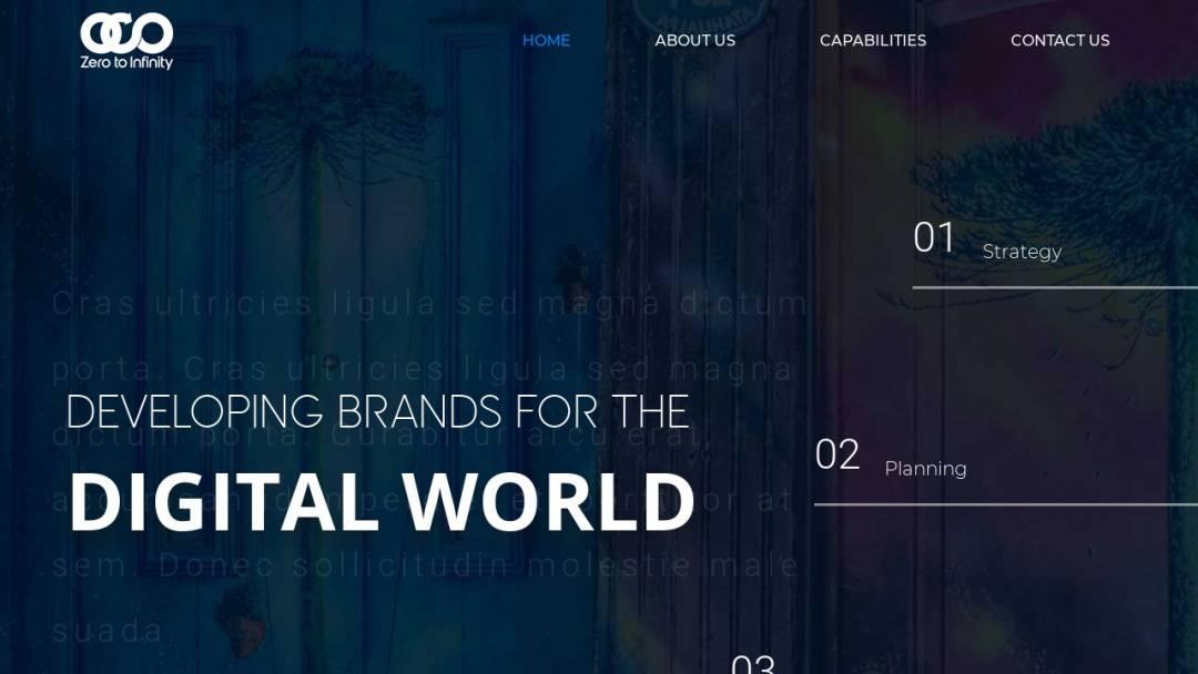 Screenshot of Zero to Infinity's Website