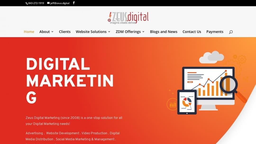 Screenshot of Zeus Digital Marketing's Website