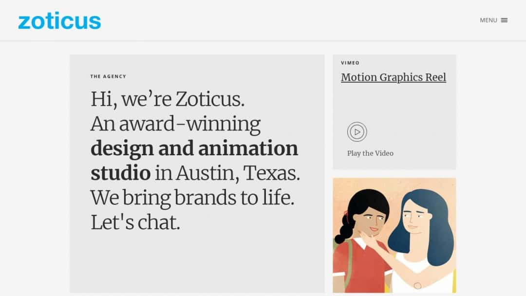 Screenshot of Zoticus's Website