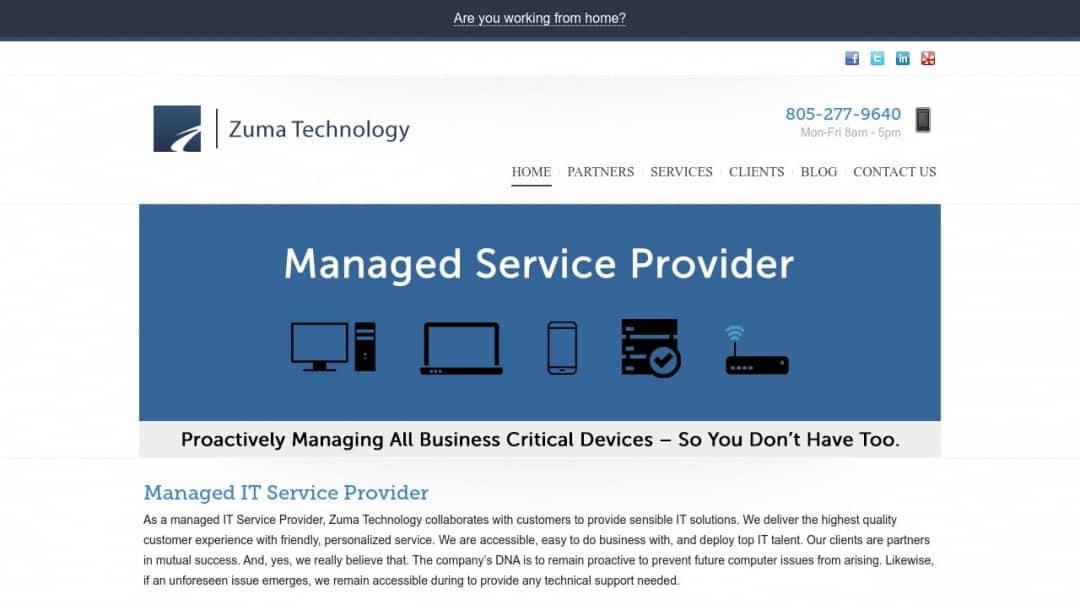 Screenshot of Zuma Technology's Website