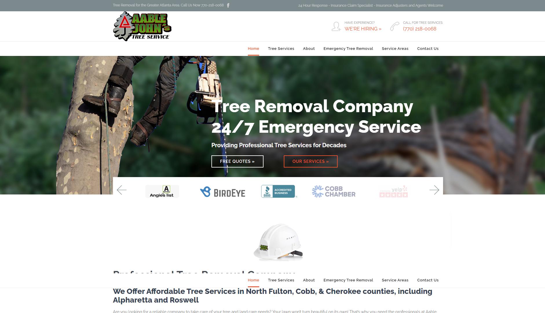 Best Contractor Website for Aable John's Tree Service