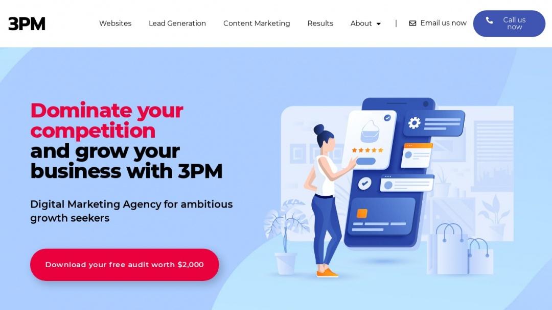 Screenshot of 3 Phase Marketing's Website