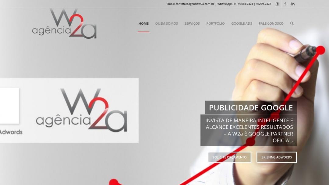 Screenshot of Agência W2a's Website