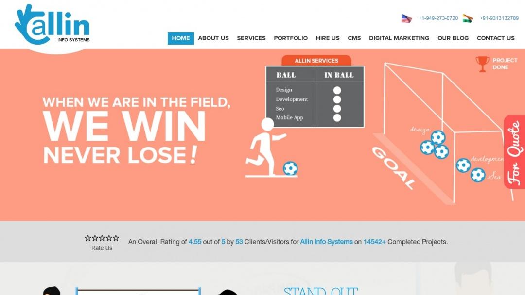 Screenshot of Allin Info Systems Pvt. Ltd.'s Website