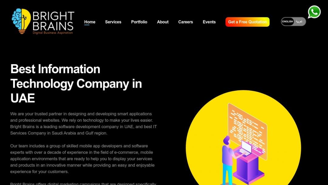 Screenshot of Bright Brains Information Technology's Website