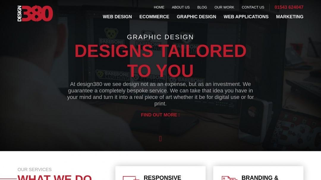 Screenshot of Design380's Website