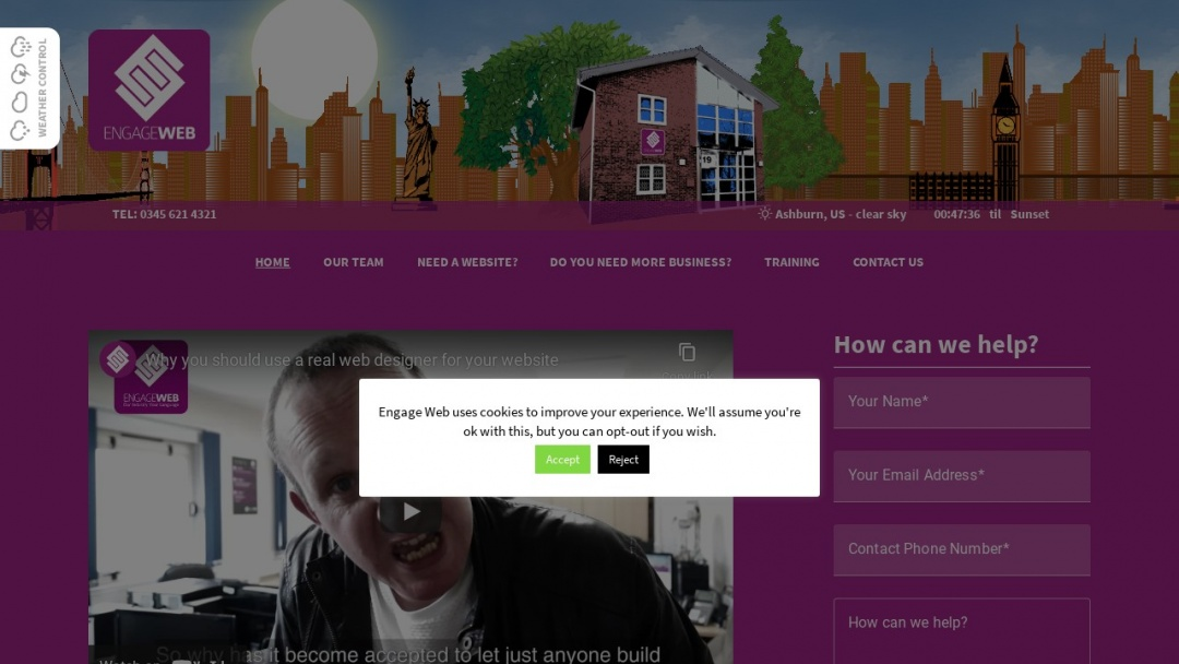 Screenshot of Engage Web's Website