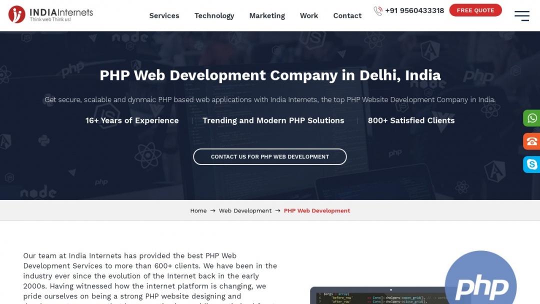 Screenshot of IndiaInternets's Website