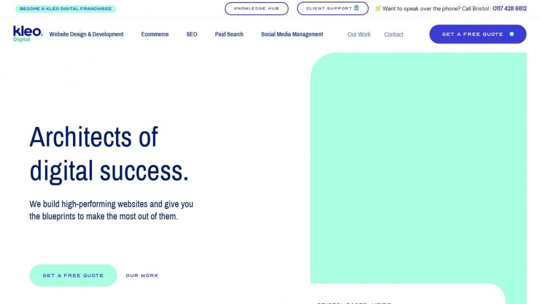 Screenshot of Kleo Digital's Website