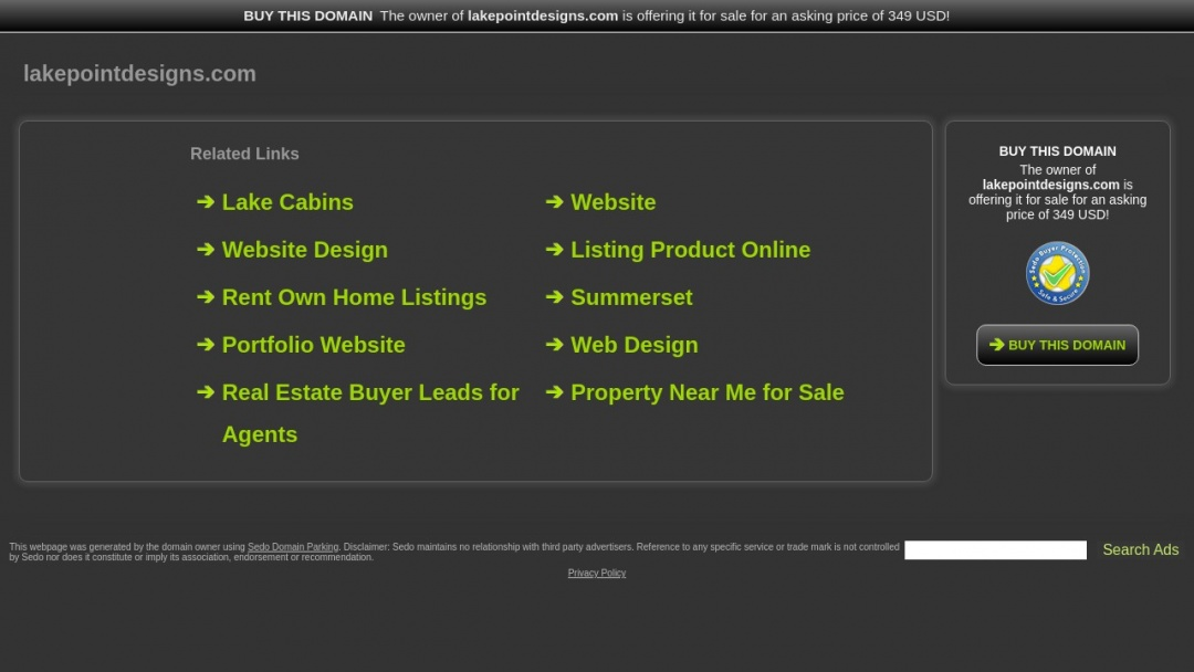 Screenshot of Lake Point Designs's Website