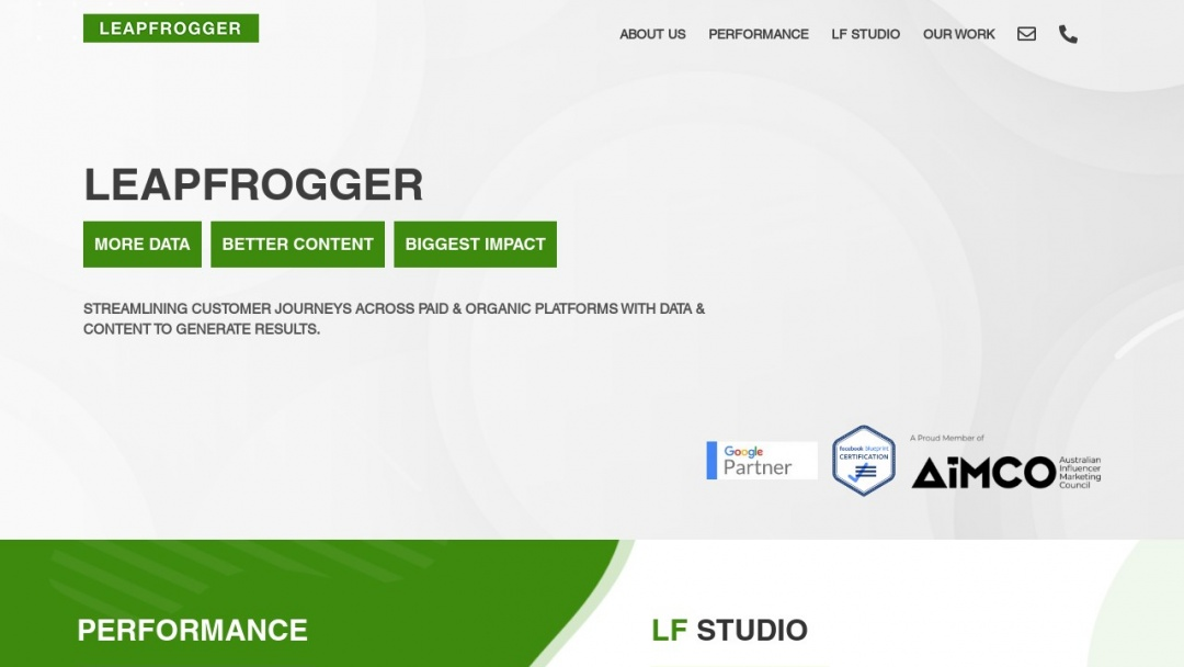 Screenshot of LeapFrogger's Website