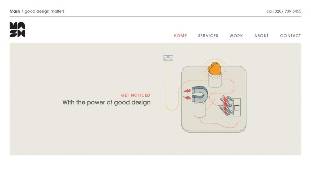 Screenshot of Mash's Website