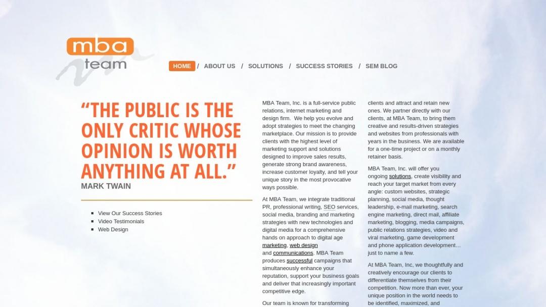 Screenshot of MBA Team, Inc.'s Website