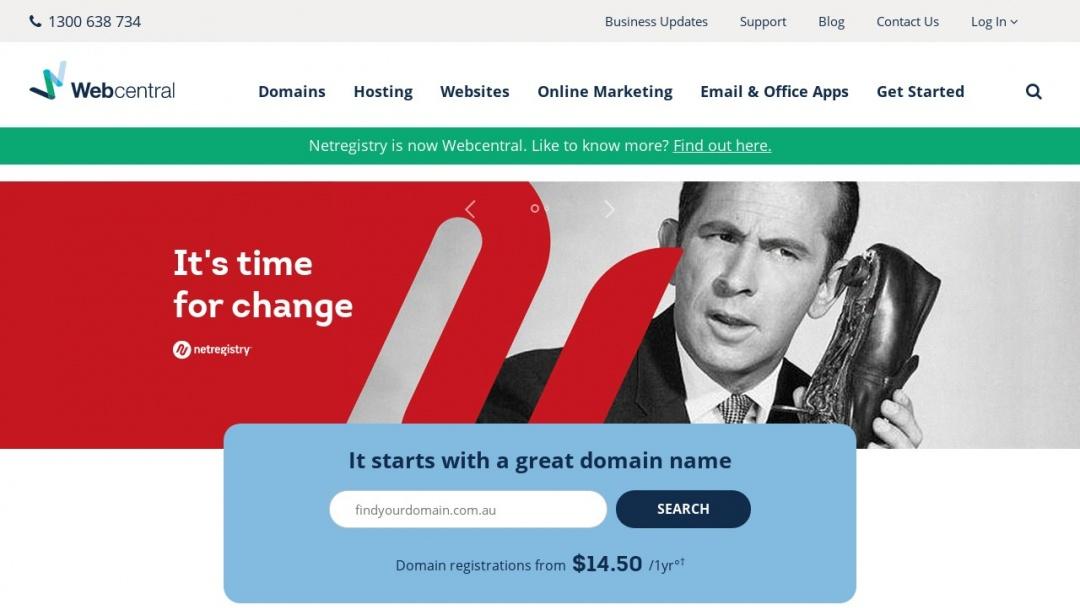 Screenshot of Netregistry's Website