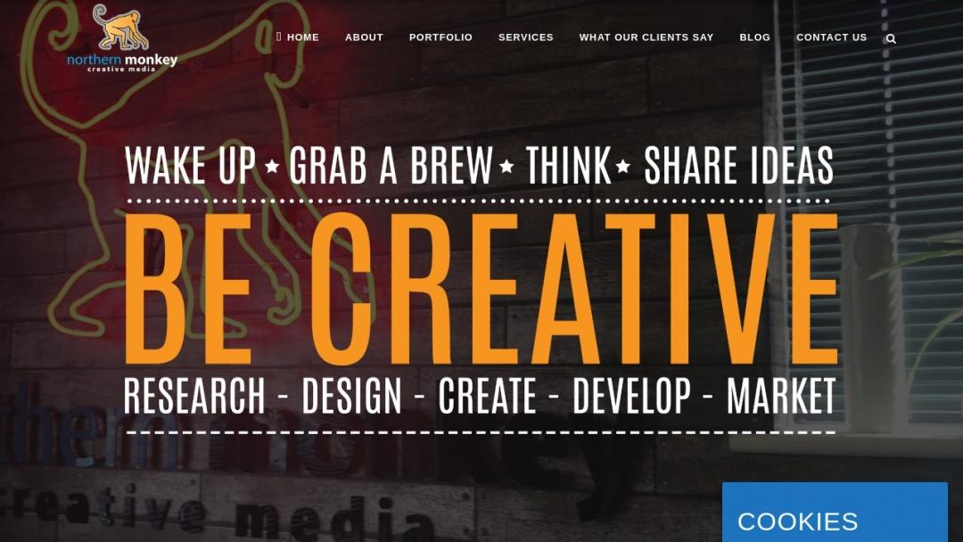 Screenshot of Northern Monkey Creative Media's Website