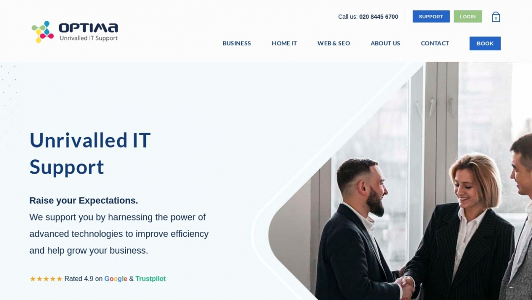 Screenshot of Optima Computer Centre Ltd's Website
