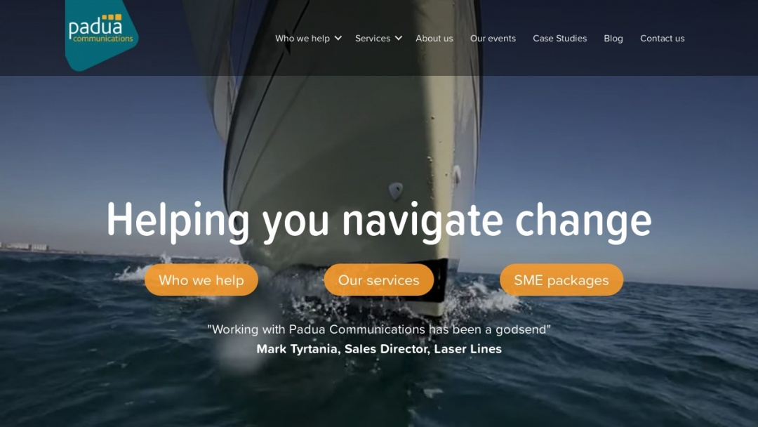 Screenshot of Padua Communications's Website