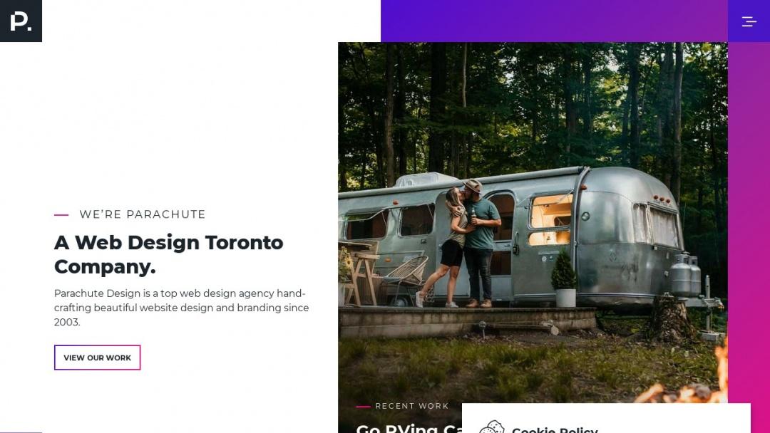 Screenshot of Parachute Design Group Inc.'s Website