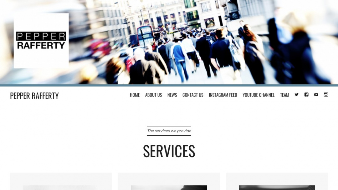 Screenshot of Pepper Rafferty's Website