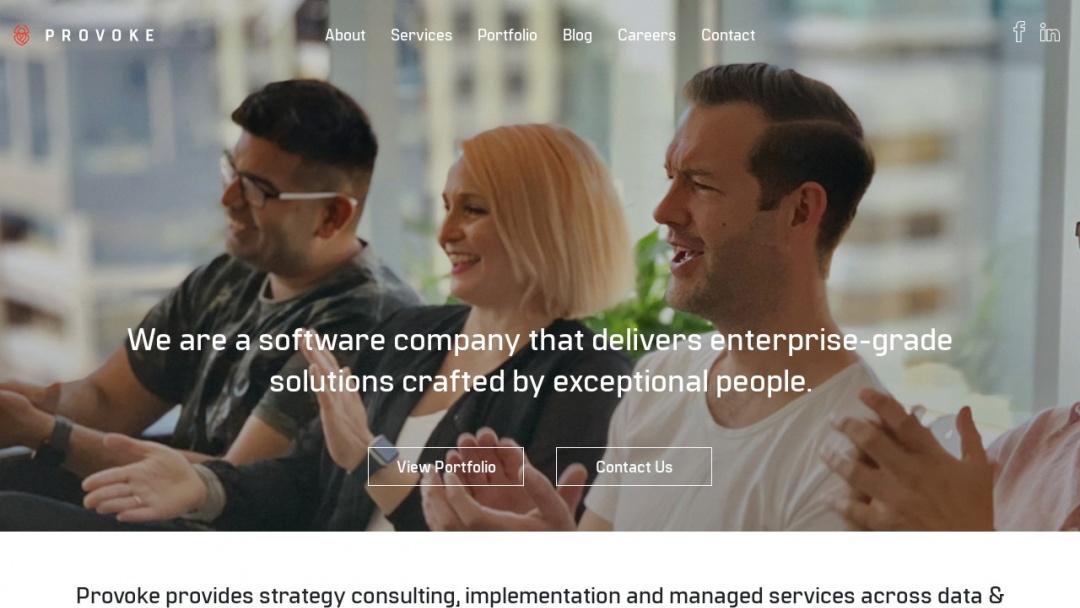 Screenshot of Provoke Solutions's Website