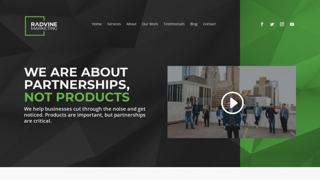 Screenshot of RadVine Marketing's Website