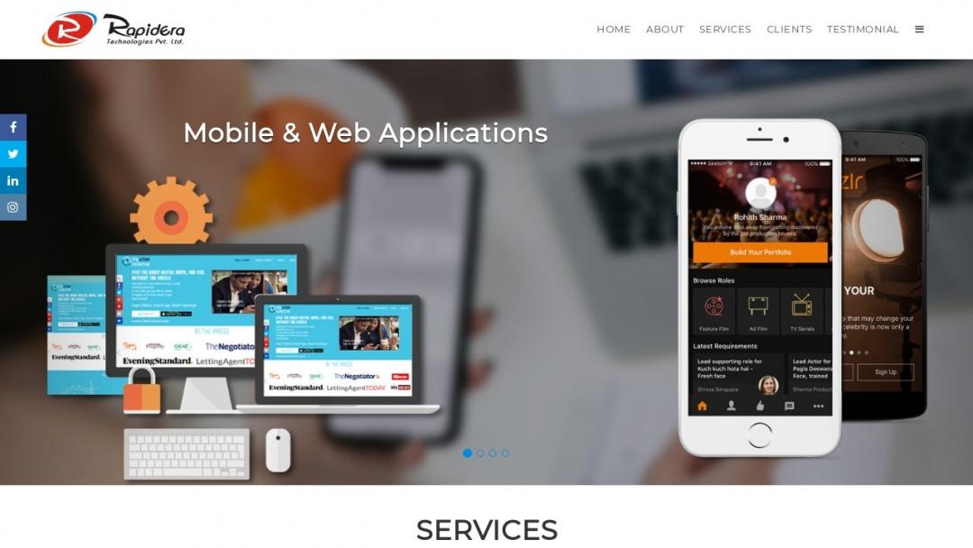 Screenshot of Rapidera Technologies's Website