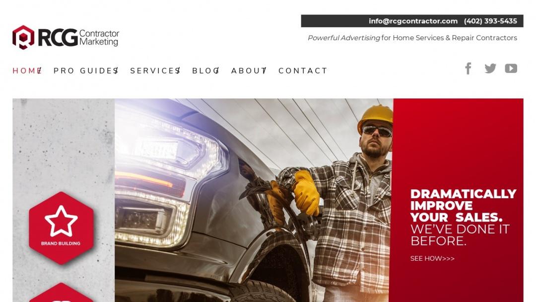 Screenshot of RCG Contractor Marketing's Website
