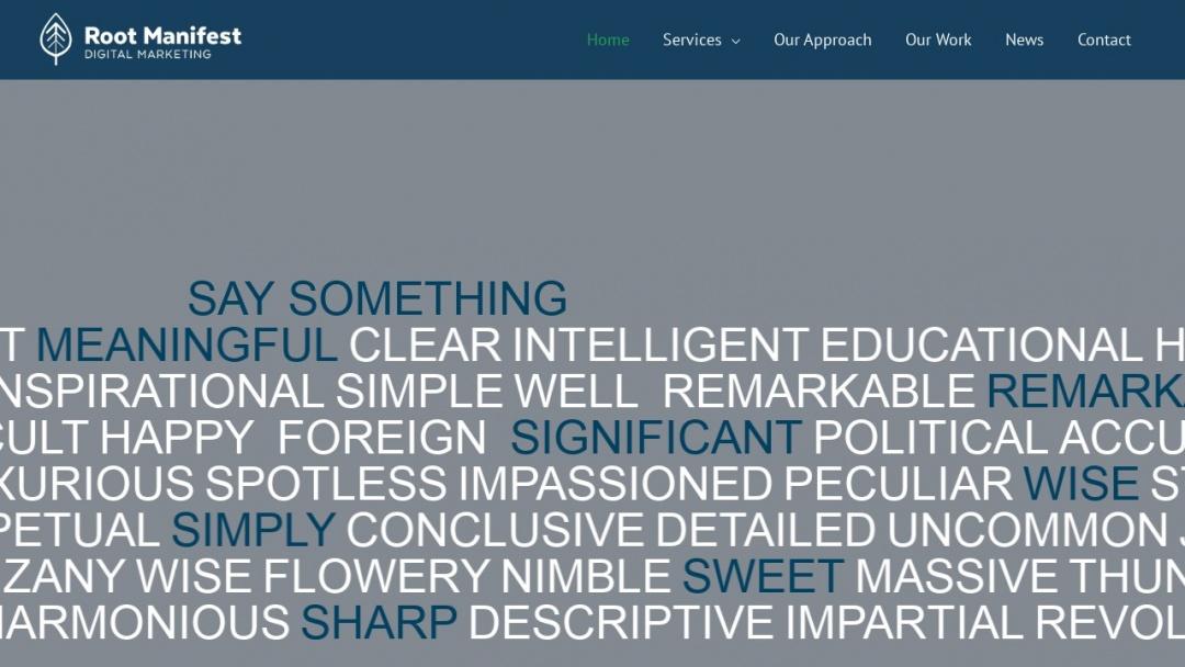 Screenshot of Root Manifest, LLC's Website