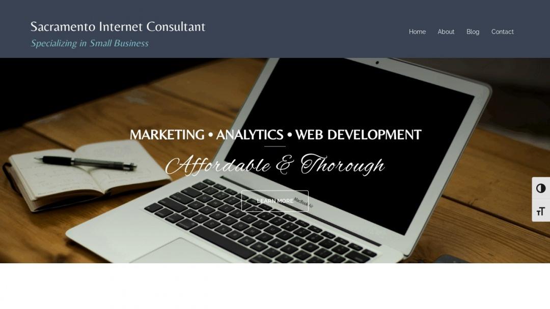 Screenshot of Sacramento Internet Consultant's Website
