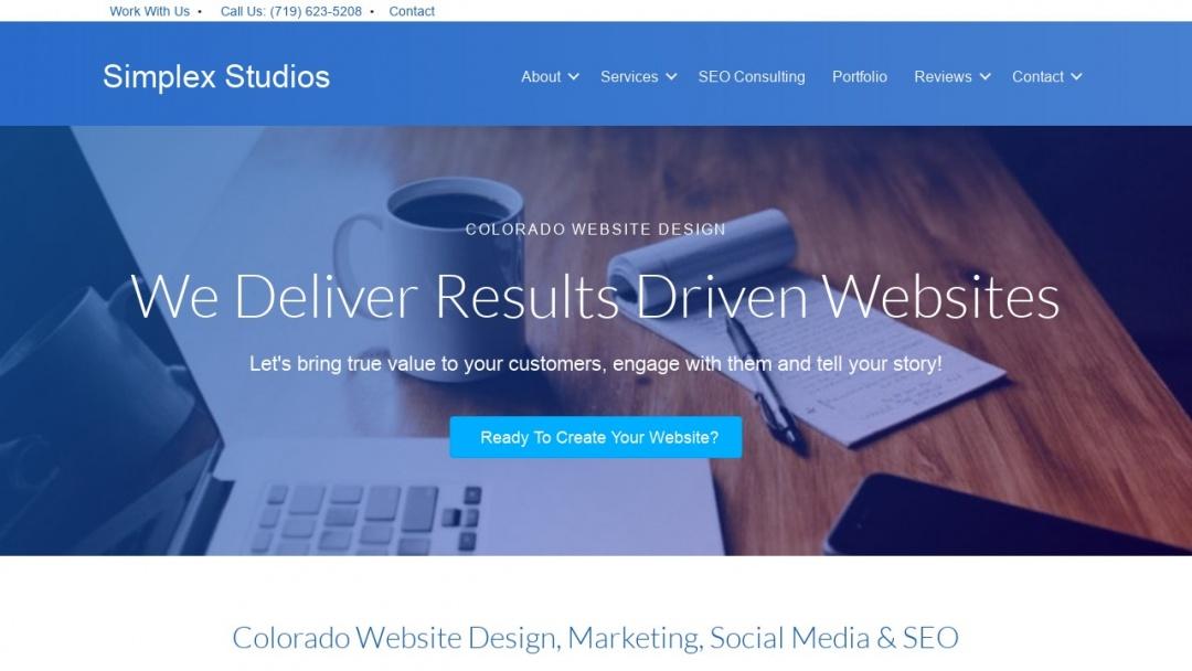 Screenshot of Simplex Studios's Website