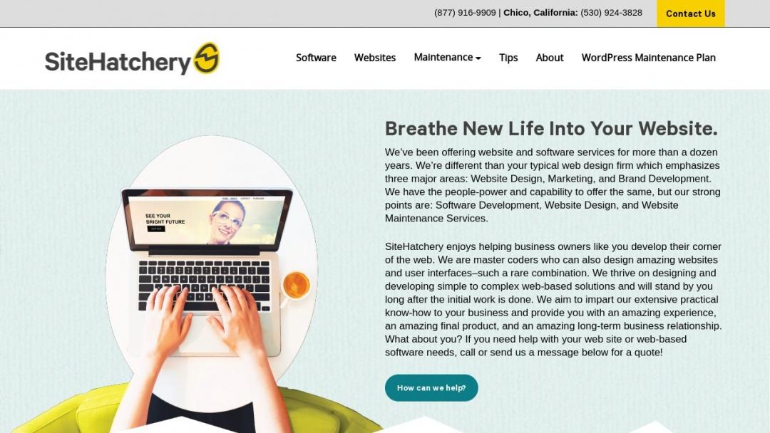 Screenshot of SiteHatchery's Website