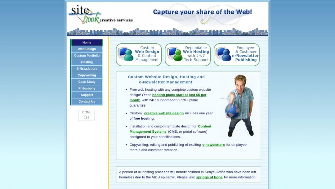 Screenshot of Sitehook Creative Services's Website