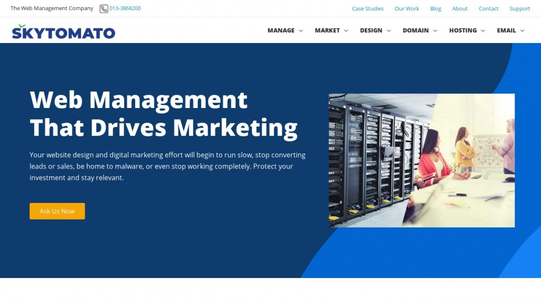 Screenshot of Skytomato Sdn Bhd's Website