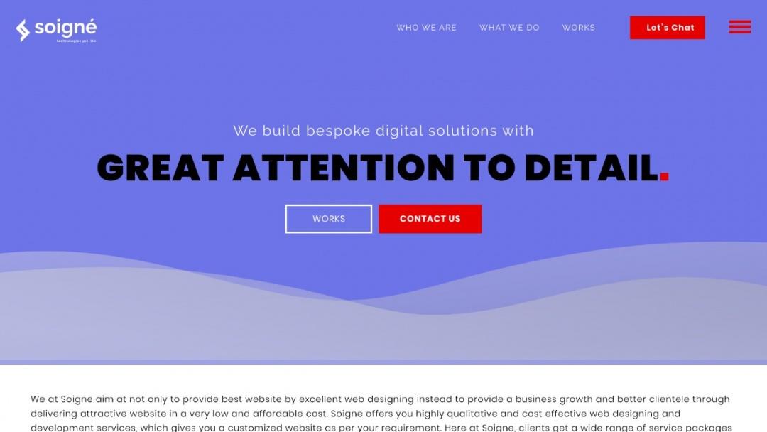 Screenshot of Soigne Technologies Pvt. Ltd.'s Website