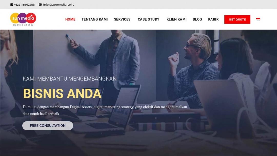 Screenshot of Sun Media Digital Agency Bali's Website