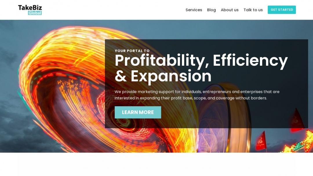 Screenshot of TakeBiz Global's Website