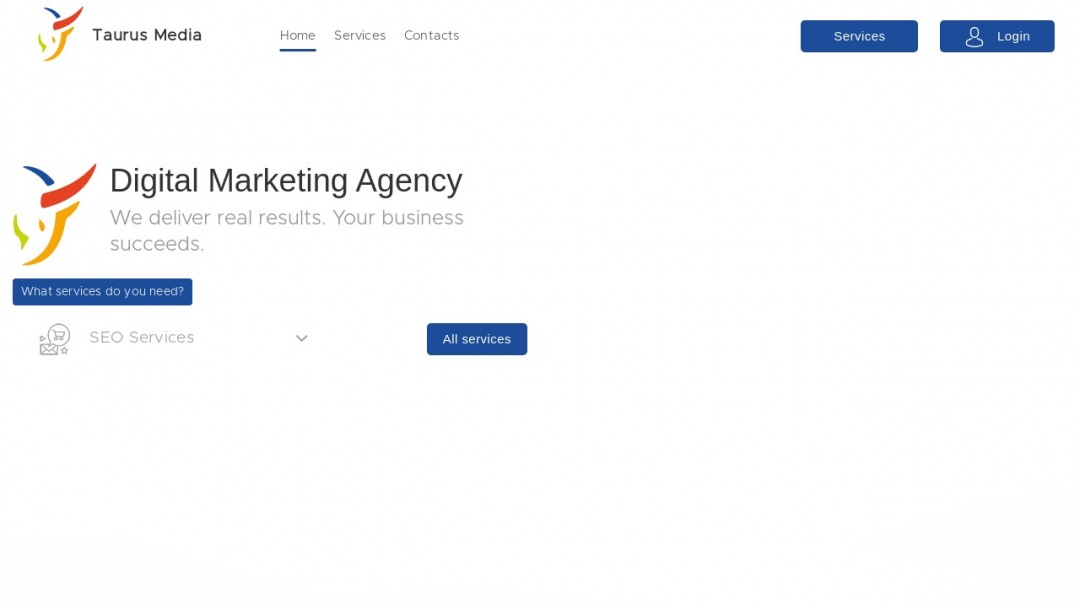 Screenshot of Taurus Media's Website