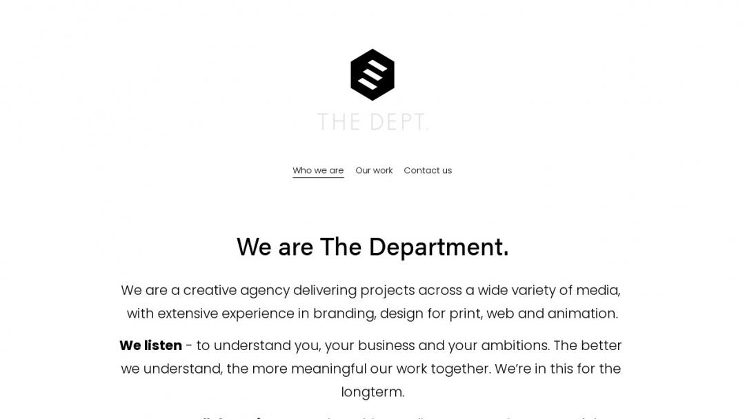 Screenshot of The Department Studios LLP's Website